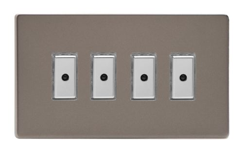 Varilight JDRE104S Screwless Pewter 4 Gang V-Pro Remote/Touch Master LED Dimmer 0-100W